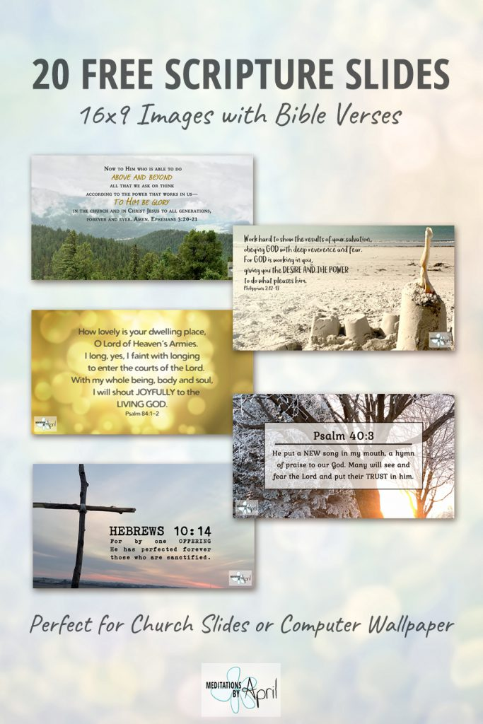 20 Free Scripture Slides - 16x9 Images with Bible Verses - Perfect for Church Slides or Computer Wallpaper